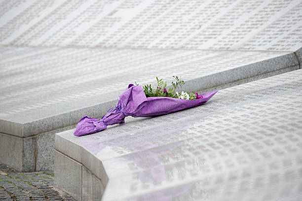 """Flowers at the Srebrenica Genocide Memorial At the Srebrenica Genocide Memorial, also called the """"Srebrenica-Potočari Memorial and Cemetery for the Victims of the 1995 Genocide"""", flowers left by a visitor lay on the names of some of the more than 6000 Bosnian Muslims killed by Bosnian Serbs in the Srebrenica area in July 1995. genocide stock pictures, royalty-free photos & images"""