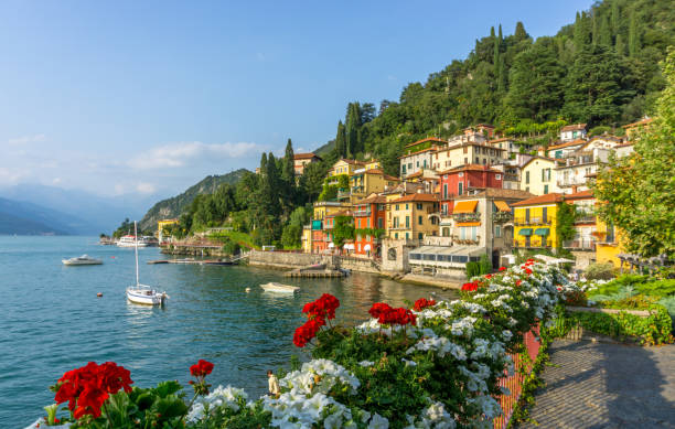 flowers at varenna, lake como, italy - lake como stock photos and pictures