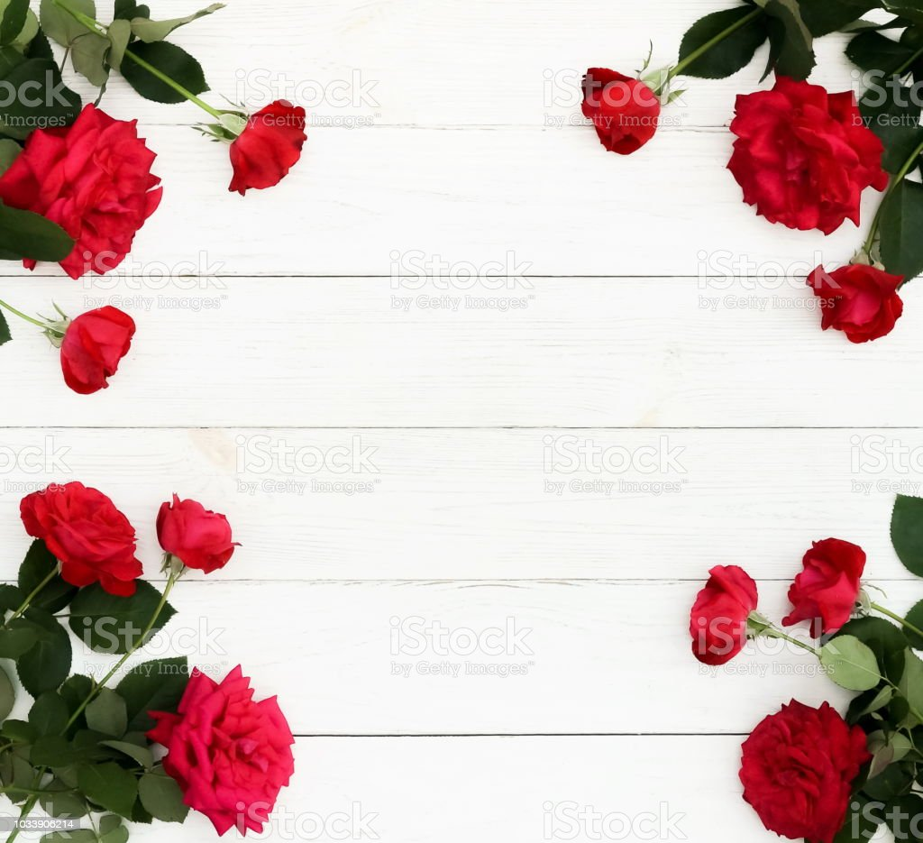 Flowers Background Bouquet Frame Of A Beautiful Red Roses On White