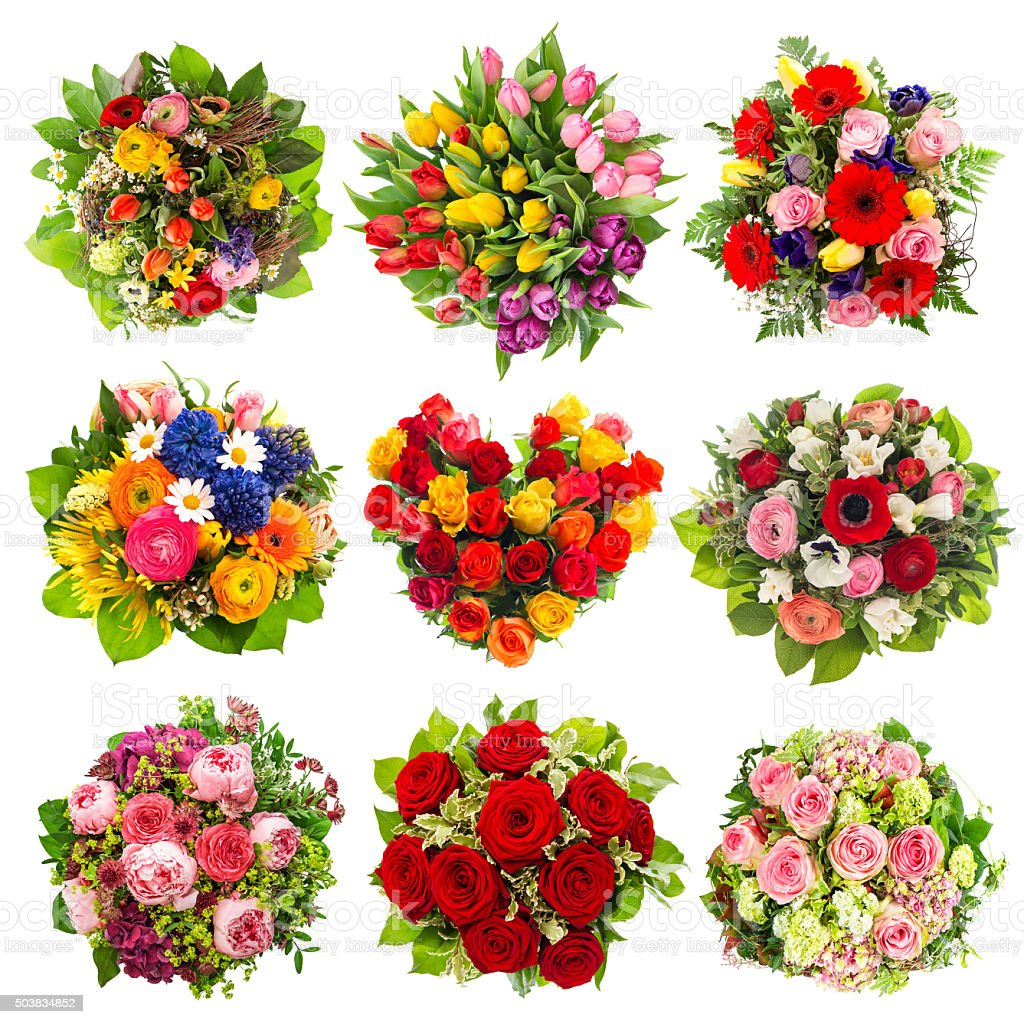 Flowers Bouquet For Birthday Wedding Easter Holidays Stock Photo