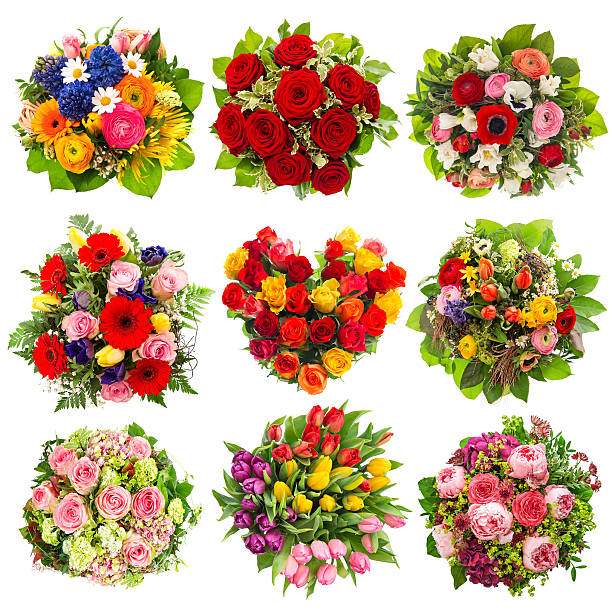 flowers bouquet holidays birthday, wedding, valentines - bouquet stock photos and pictures