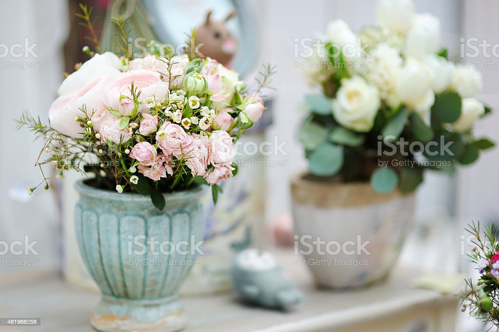 Natural flowers bouquet and decoration objects in the flower shop