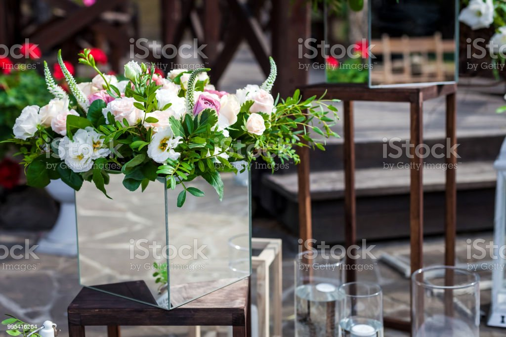 Flowers Bouquets In Unusual Vases Outdoor Stock Photo More
