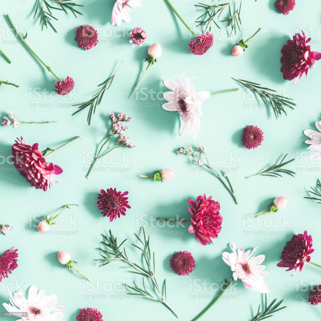Flowers composition. Eucalyptus leaves and pink flowers on mint background. Flat lay, top view Flowers composition. Eucalyptus leaves and pink flowers on mint background. Flat lay, top view Above Stock Photo