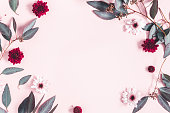istock Flowers composition. Eucalyptus leaves and pink flowers on pastel pink background. Mothers day, womens day concept. Flat lay, top view, copy space 1131195838