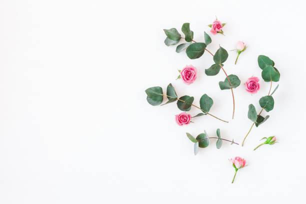 Composition de fleurs en fleurs roses et branches d'eucalyptus - Photo