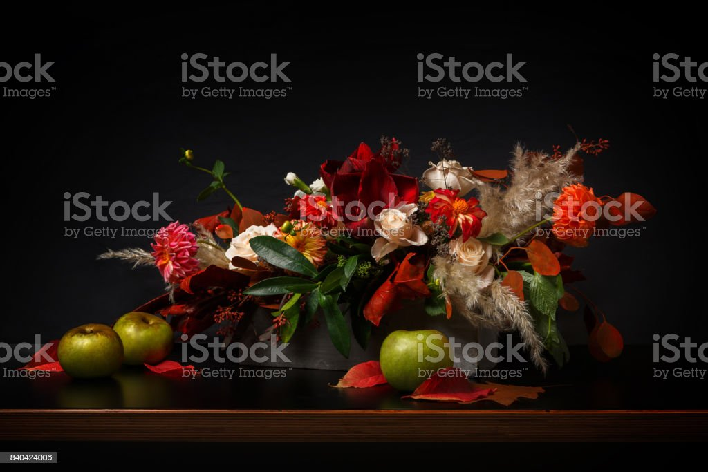 Flowers composition on black background stock photo