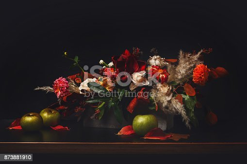 istock Flowers composition on black background 873881910