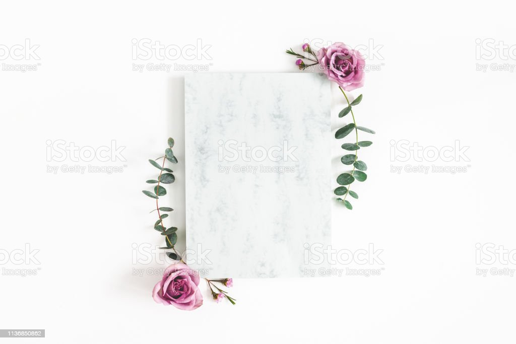 Flowers Composition Paper Blank Eucalyptus Branches And Rose
