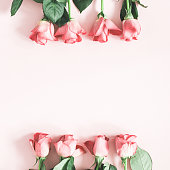 istock Flowers composition. Pink rose flowers on pastel pink background. Flat lay, top view, copy space 1128621016