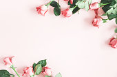 istock Flowers composition. Pink rose flowers on pastel pink background. Flat lay, top view, copy space 1137605875