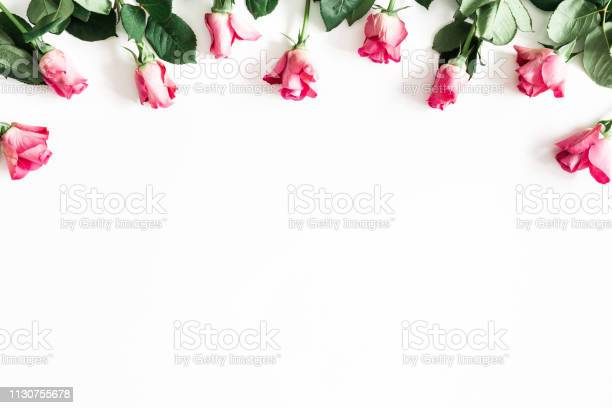Flowers composition pink rose flowers on white background valentines picture id1130755678?b=1&k=6&m=1130755678&s=612x612&h=xkh081icc  mwy2 xzwxr6wz7wpxrqxch7hknd6qhde=