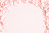 istock Flowers composition. Rose flower petals on pastel pink background. Valentine's Day, Mother's Day concept. Flat lay, top view, copy space 1091209290
