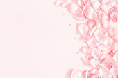 istock Flowers composition. Rose flower petals on pastel pink background. Valentine's Day, Mother's Day concept. Flat lay, top view, copy space 1091715972