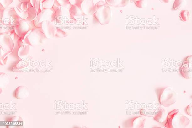 Photo of Flowers composition. Rose flower petals on pastel pink background. Valentines day, mothers day, womens day concept. Flat lay, top view, copy space