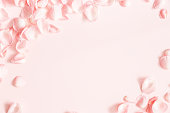 istock Flowers composition. Rose flower petals on pastel pink background. Valentines day, mothers day, womens day, wedding concept. Flat lay, top view, copy space 1130755772