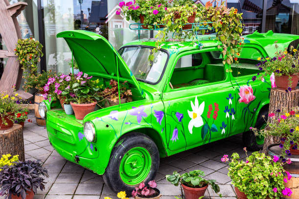 Blumen-Komposition mit grünen Retro-Auto – Foto