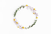 istock Flowers composition. Wreath colorful flowers, eucalyptus leaves on white background. Spring concept. Flat lay, top view, copy space 1224119594