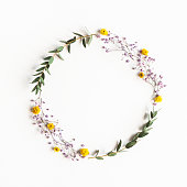istock Flowers composition. Wreath colorful flowers, eucalyptus leaves on white background. Spring concept. Flat lay, top view, copy space 1251514552