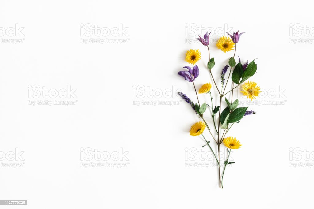 Flowers composition. Yellow and purple flowers on white background. Spring, easter concept. Flat lay, top view, copy space royalty-free stock photo