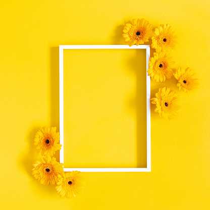 Flowers Composition Yellow Gerbera Flowers Photo Frame On Yellow Background Flat Lay Top View Copy Space Stock Photo - Download Image Now