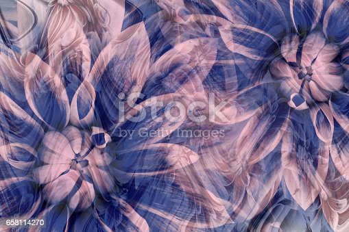 istock flowers dahlias gray-blue-pink. flowers  background. floral collage.  abstract composition. Nature. 658114270