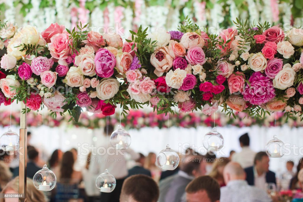 Flowers decor on event stock photo