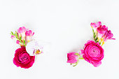 istock Flowers flat lay composition 1009966396