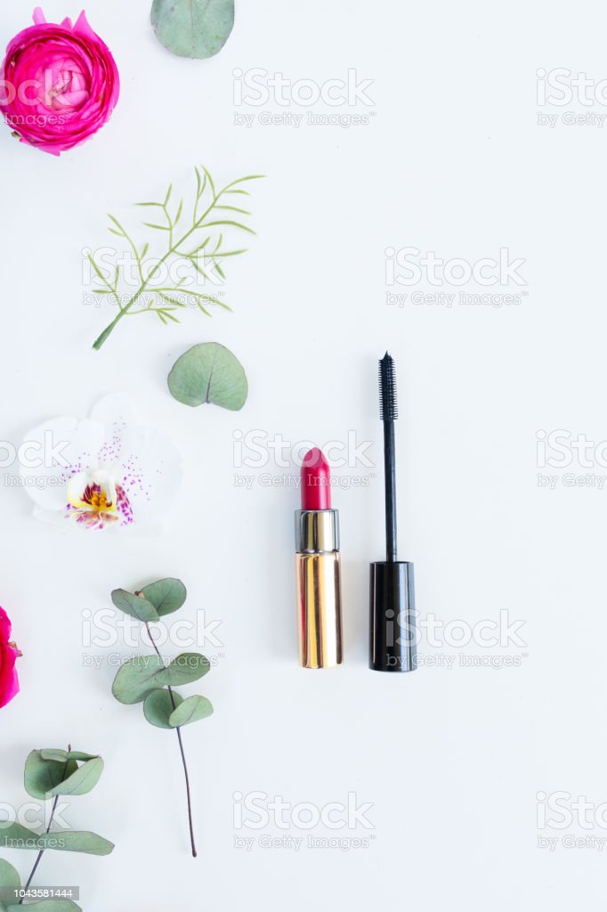 Flowers flat lay composition стоковое фото