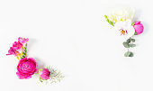 istock Flowers flat lay composition 1134038288