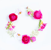 istock Flowers flat lay composition 1134038312
