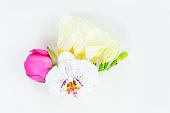 istock Flowers flat lay composition 1137774697