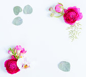 istock Flowers flat lay composition 1137774895
