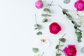 istock Flowers flat lay composition 1137775033