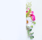 istock Flowers flat lay composition 1137775301