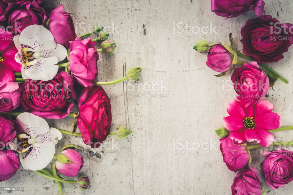Flowers flat lay composition royalty-free stock photo