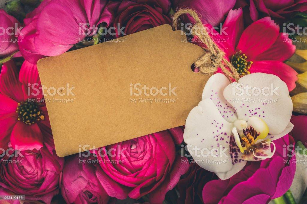 Flowers flat lay composition zbiór zdjęć royalty-free