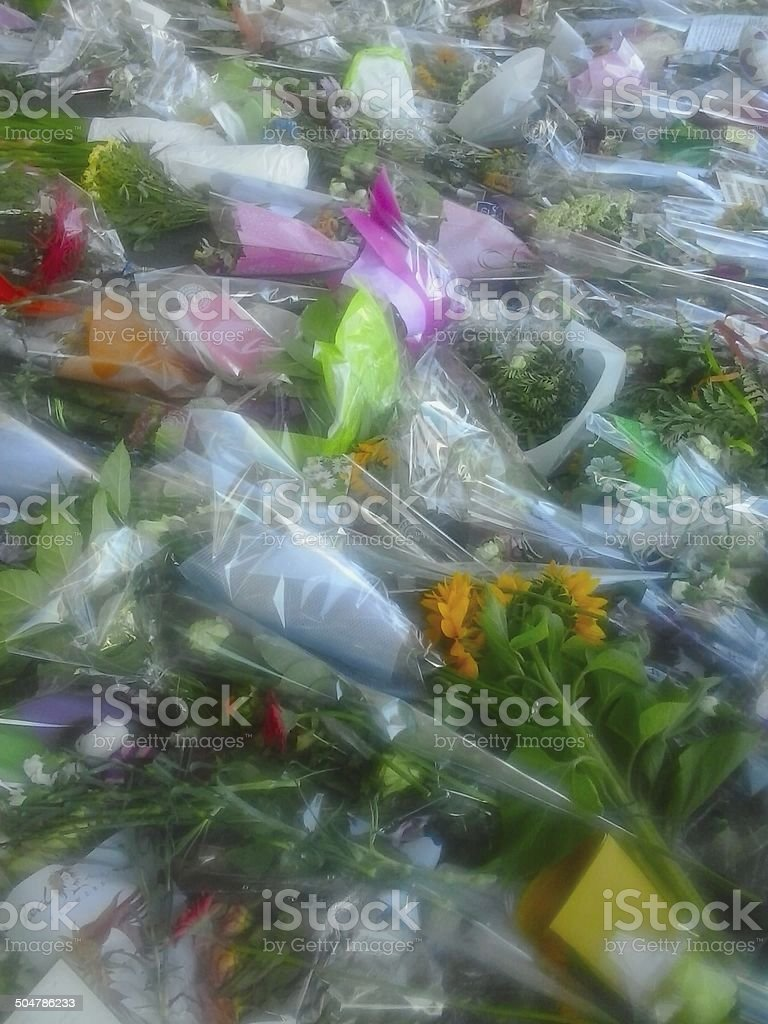 Flowers for a plane crash royalty-free stock photo