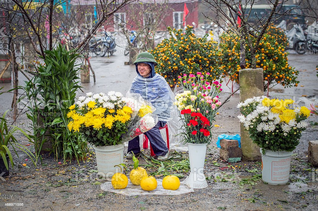 Flowers for sale at a market in Sapa, Vietnam stock photo