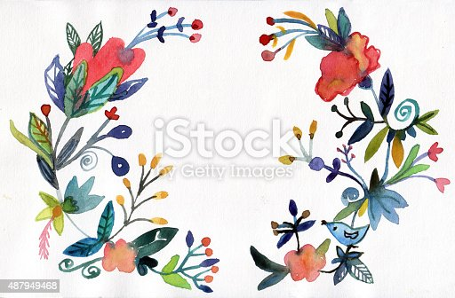 istock Flowers frame watercolor background 487949468
