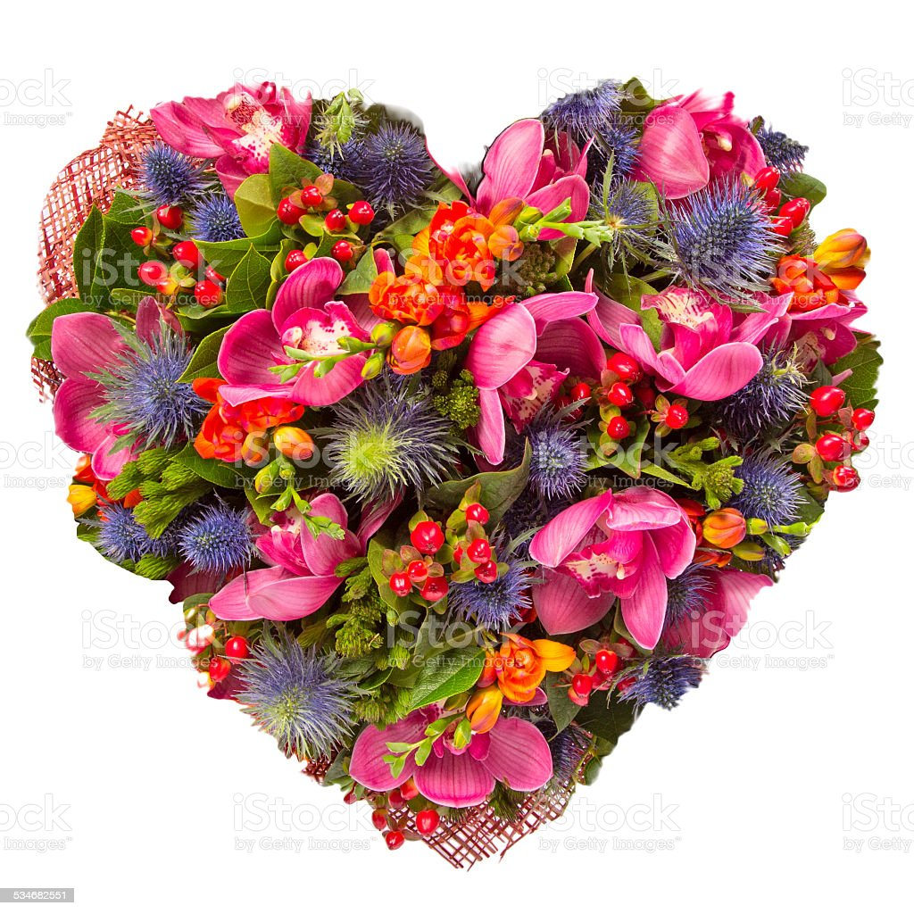Flowers heart floral collage concept stock photo