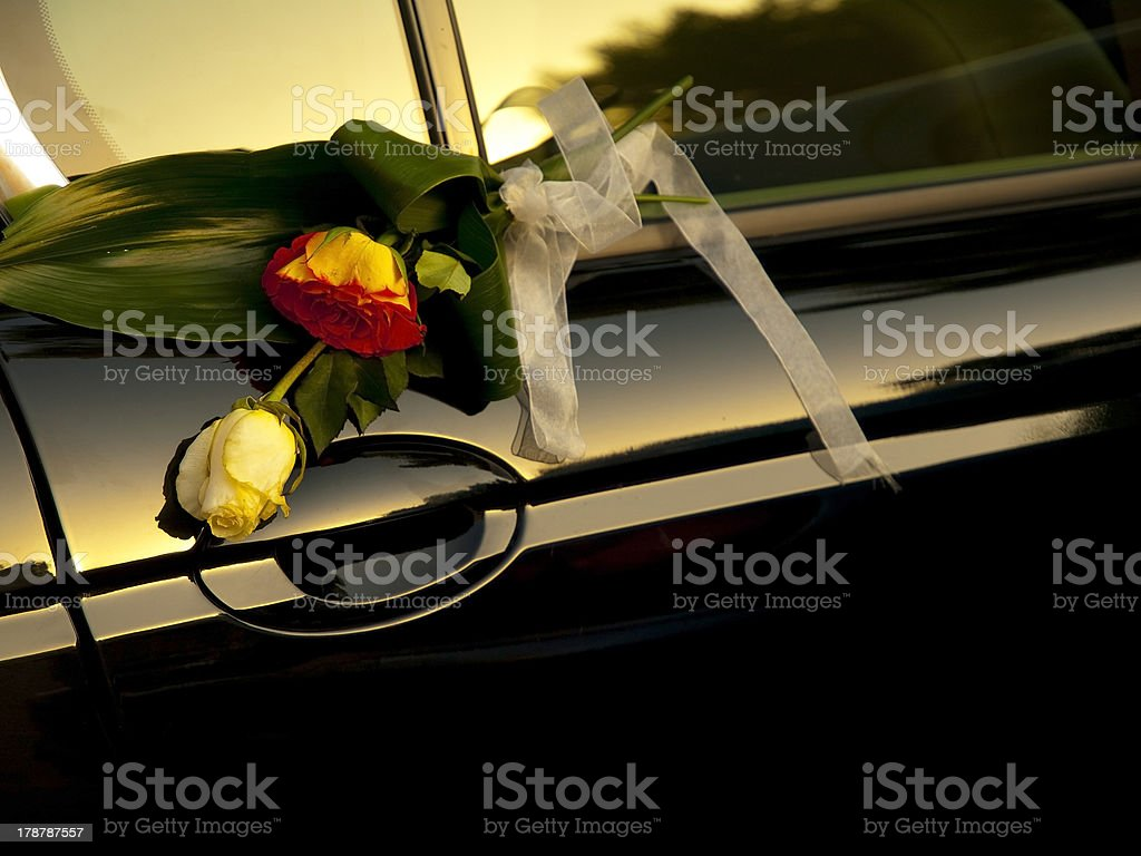 Flowers in a Bride Car royalty-free stock photo