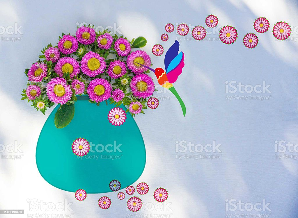 Flowers in a vase with hummingbird illustration stock photo