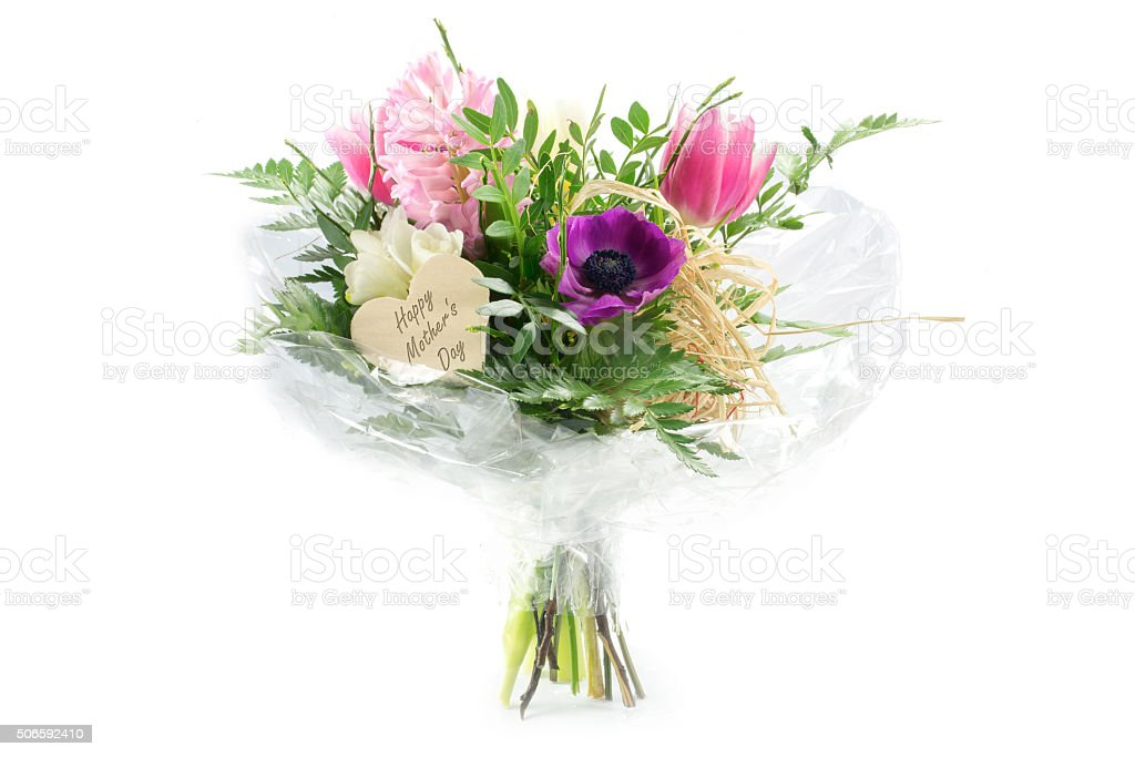 Flowers In Cellophane Wooden Heart Shape Text Mothers Day