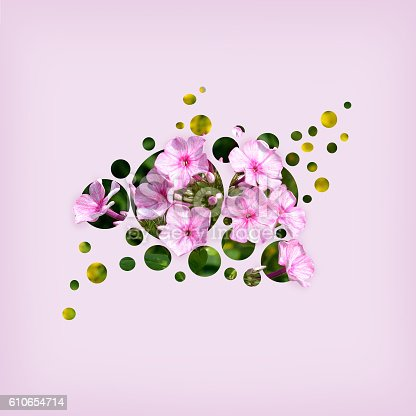 Flowers in circles on purple background