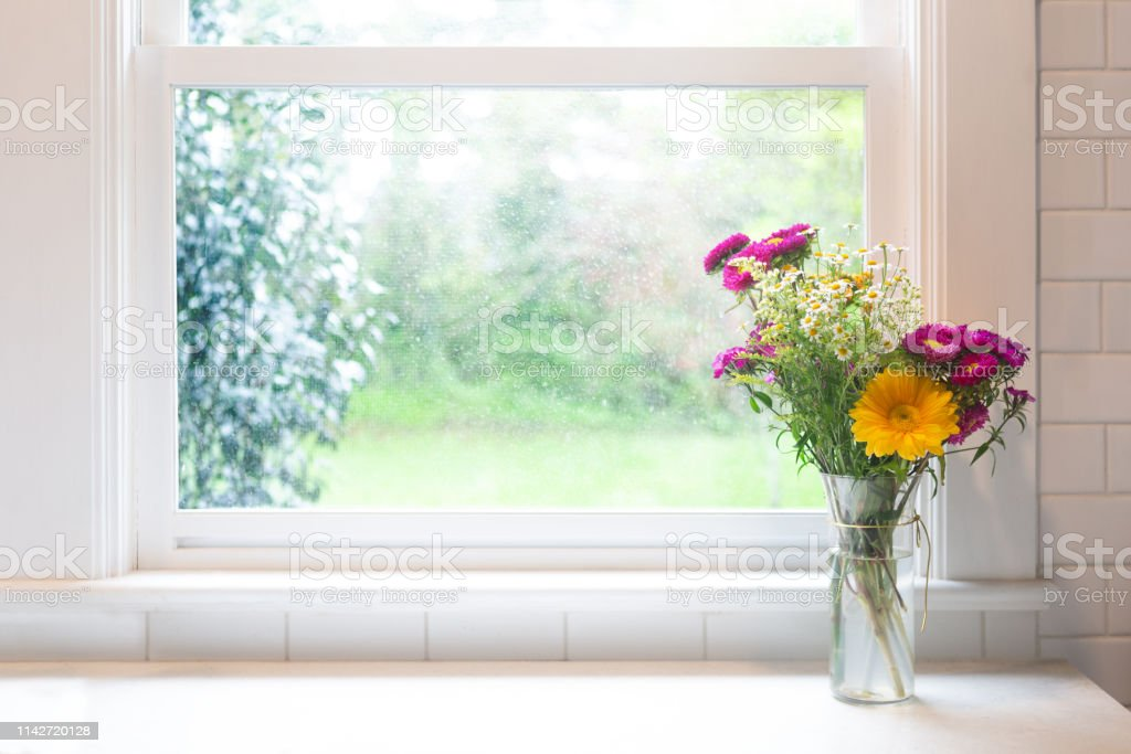 Flowers in front of window - high key with copyspace stock photo