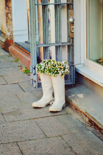 Flowers in old rubber boots, creative upcycling