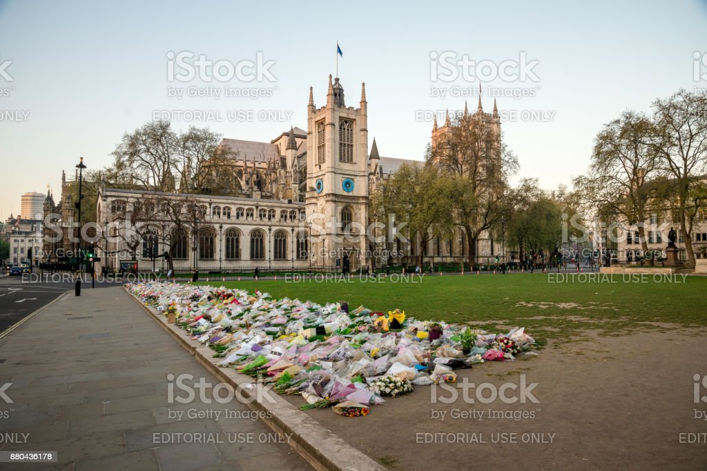 Flowers in Parliament Square Garden after Terrorist attack on Westminster Bridge in March 2017, Central London stock photo