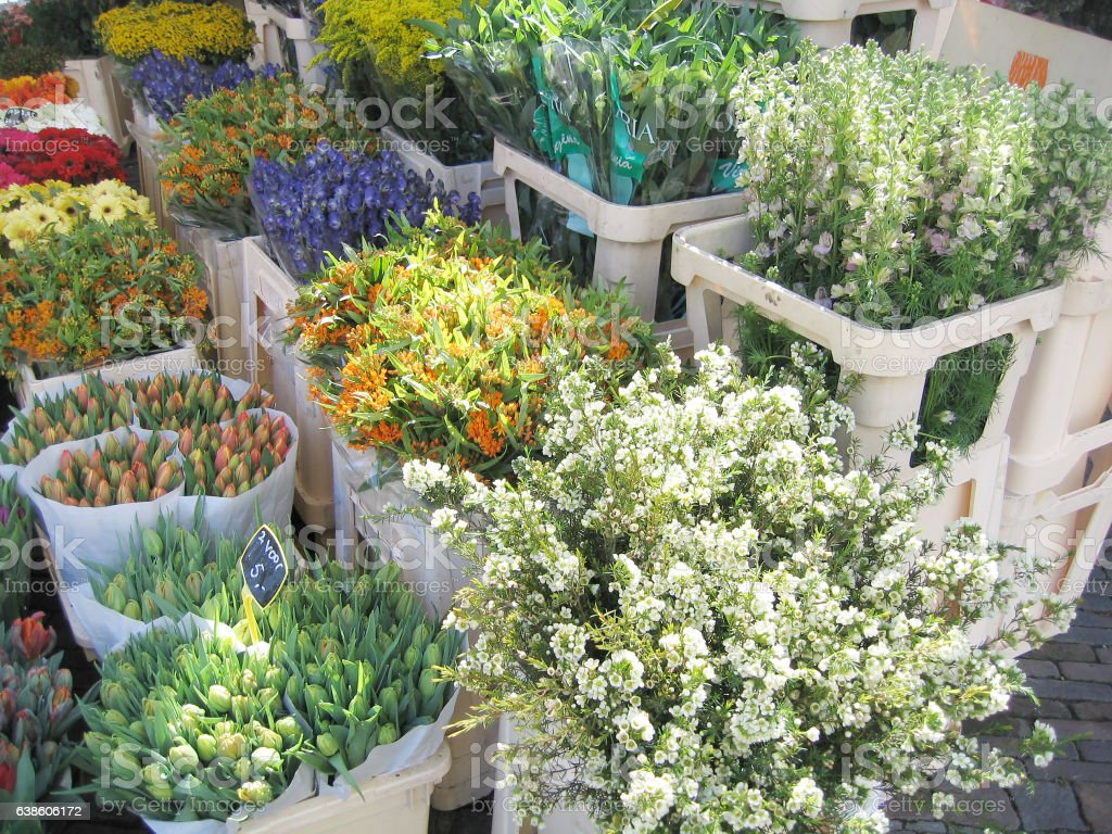 Flowers in the market. stock photo