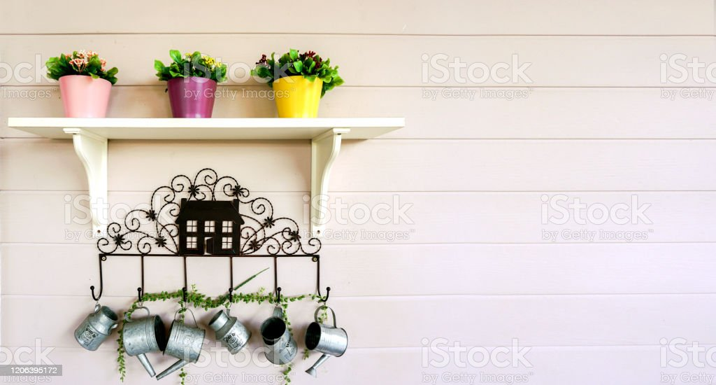 Flowers In Three Pots On A White Shelf And Hanging Decoration Small Showers On White Wooden Wall Background Stock Photo Download Image Now Istock,Vintage Hollywood Regency Vanity Chair